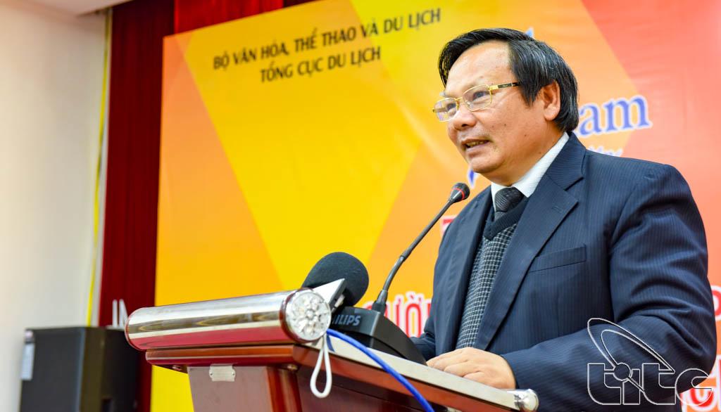 Tổng cục trưởng TCDL Nguyễn Văn Tuấn phát biểu tại buổi Tọa đàm Tăng cường công tác phối hợp quảng bá Du lịch